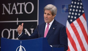 U.S. Secretary of State John Kerry gives a press conference during a foreign affairs ministers meeting at the NATO headquarters in Brussels on May 19, 2016.