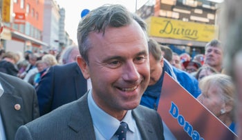 Austrian Freedom Party presidential candidate Norbert Hofer on the campaign trail on Saturday.