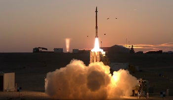 Provided by the Israeli Ministry of Defense, the photo shows a launch of the David's Sling missile defense system, December 21, 2015.