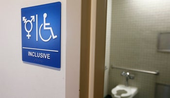 A gender-neutral bathroom is seen at the University of California, U.S., September 30, 2014.