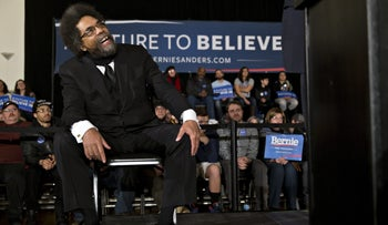 Social activist Cornel West reacts while listening to Senator Bernie Sanders, an independent from Vermont and 2016 Democratic presidential candidate, not pictured, speak during a campaign rally at Danceland Ballroom in Davenport, Iowa, U.S., on Friday, Jan. 29, 2016.