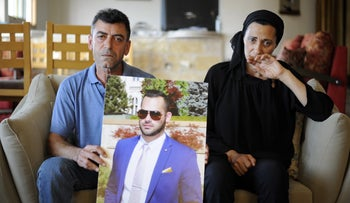 Khaled and Adawiyah Salem, the parents of Majdi Salem, who died at a construction site in Kibbutz Ma'agan Michael earlier this month, May 23, 2016.