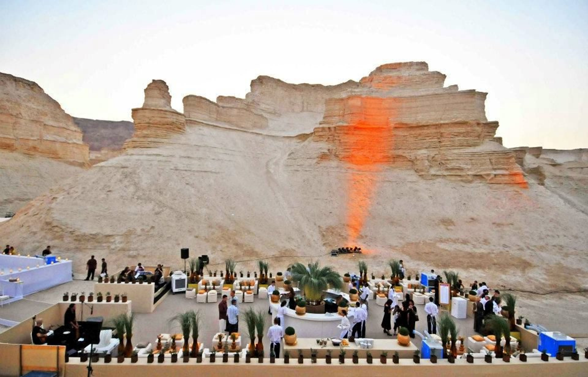 """A wedding at Masada. Event produced by Naomi Tabor - Imagine Events and Assaf Torrez Events Planning. """"Young Israelis today want a place that expresses their personal style,"""" says one wedding planner."""