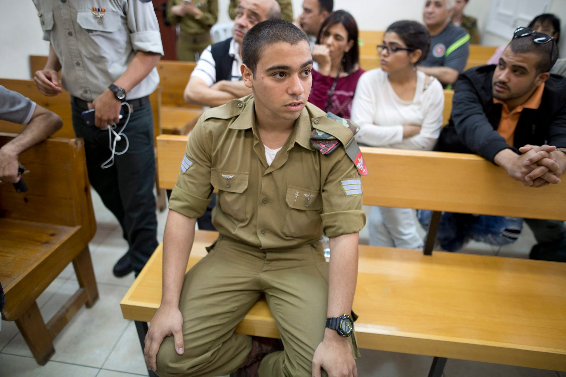 IDF soldier Elor Azaria, charged with manslaughter in shooting death of a Palestinian in March in Hebron, in the military court in Jaffa, in April, 2016.