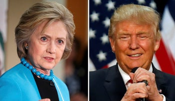 Democratic presidential candidate Hillary Clinton (L) and Republican  presidential candidate Donald Trump (R).