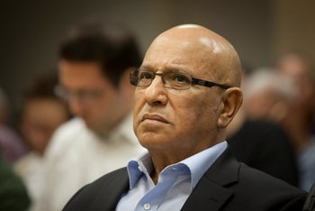 Former Mossad chief Meir Dagan at INSS conference. 2013.