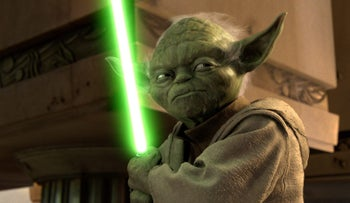 Jedi Master Yoda in a scene in an undated publicity photo from 'Star Wars Episode III: Revenge of the Sith.'