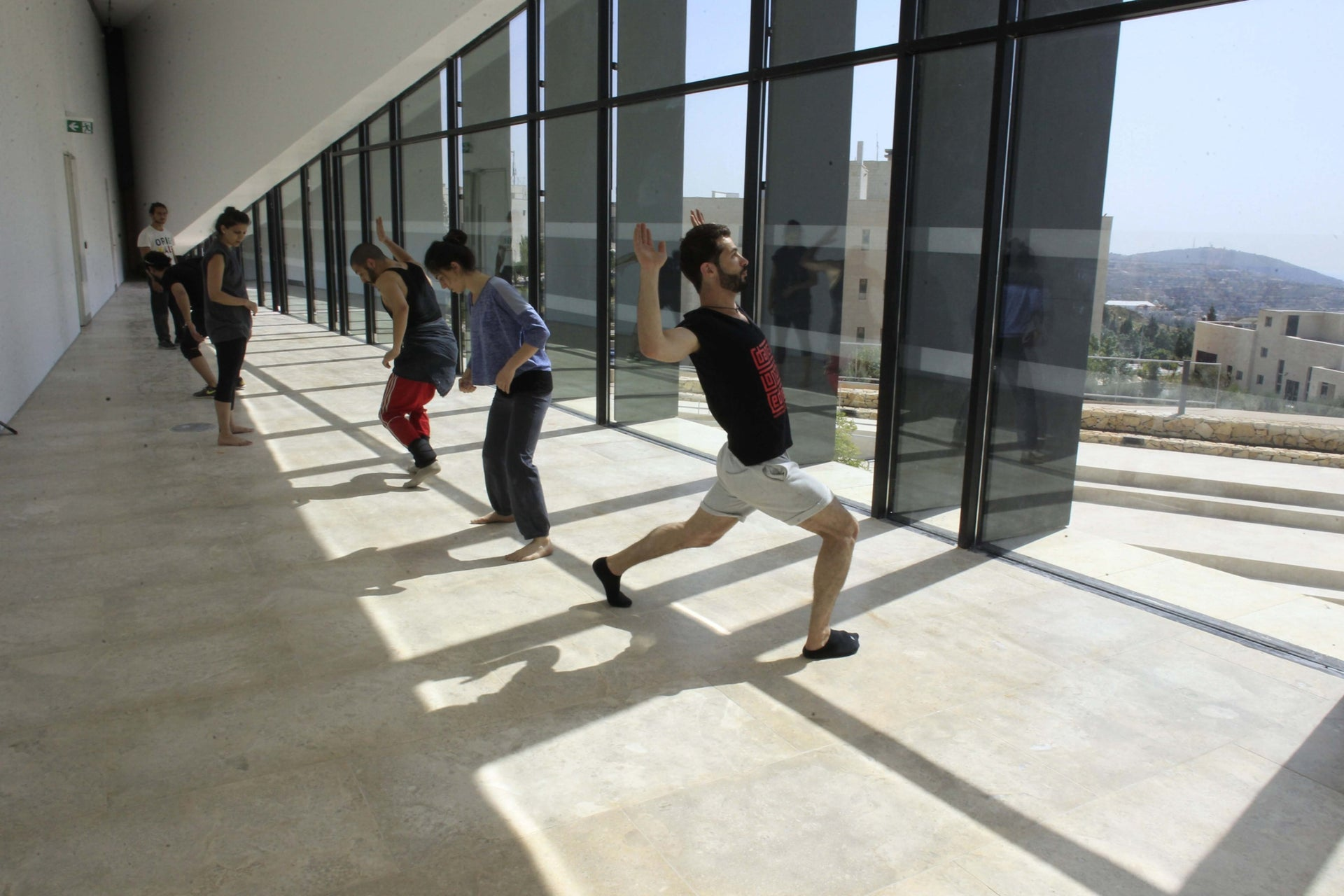 Dancers practice in a space within the new Palestinian Museum near Ramallah.