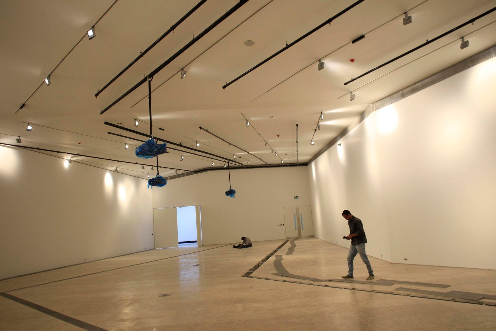A worker in a gallery of the new Palestinian Museum near Ramallah.