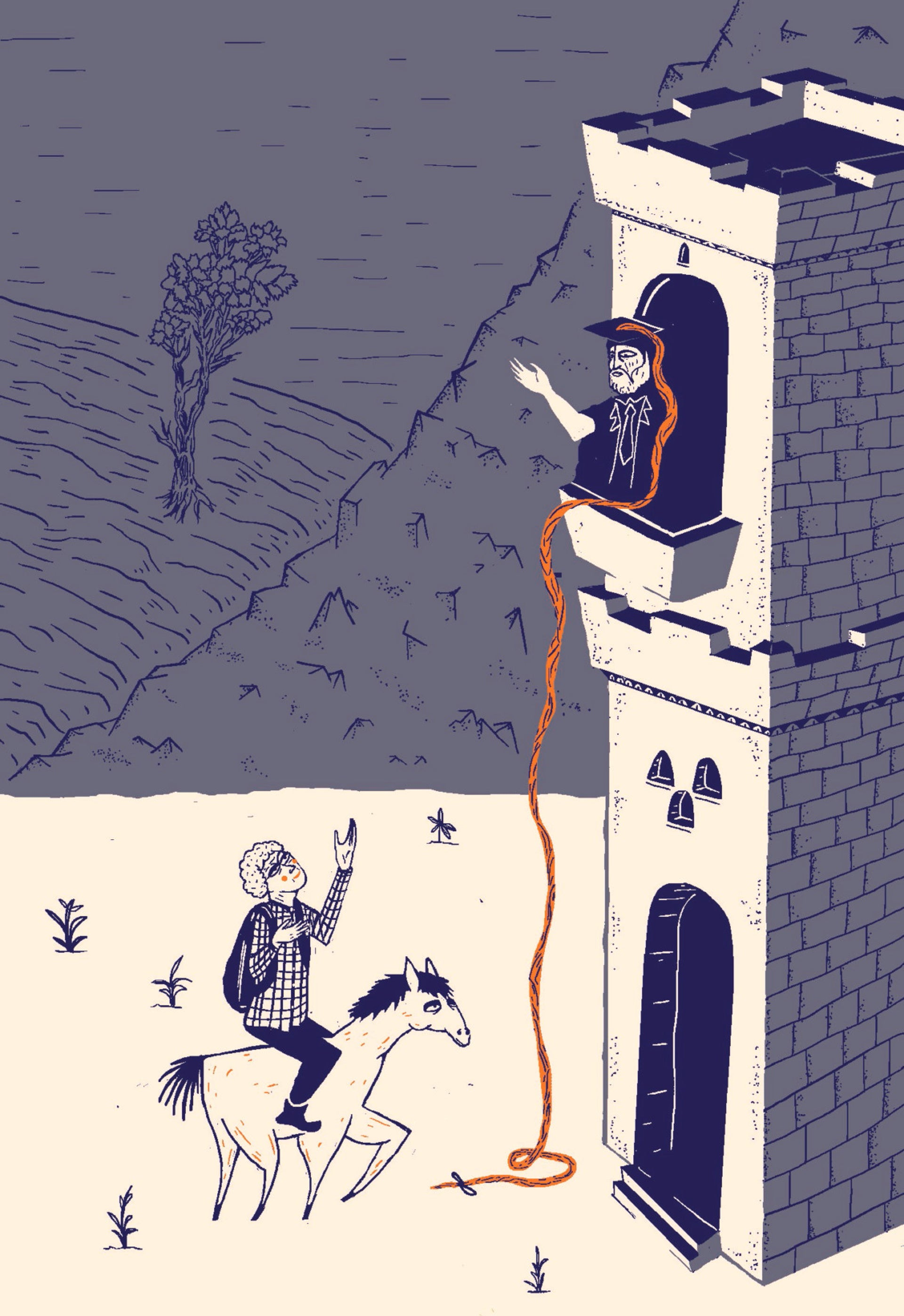 An illustration showing an old man in a cap and gown standing in a tower, throwing down the cap's tassel (Rapunzel-style) to a student straddling a horse down below.