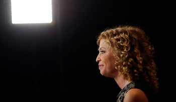 Representative Debbie Wasserman Schultz (D-FL) Democratic National Committee Chairwoman sits for an interview before the first Democratic presidential debate, October 13, 2015.