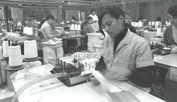A busy factory floor during the heyday of Israel's textile industry.