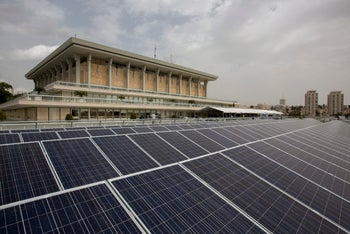 1,500 solar panels have been installed on the roof of Israel's Knesset building, said to be the largest solar field of any national assembly in the world