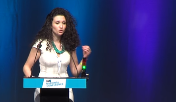 Malia Bouattia during her election speech for NUS national president in April, 2016.