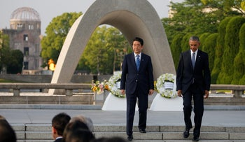 U.S. President Barack Obama and Japan's Prime Minister Shinzo Abe attend a ceremony at the Peace Memorial Park in Hiroshima, Japan, May 27, 2016.
