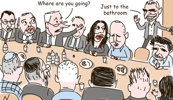 "An illustration of a government meeting. Kahlon gets up to leave. Netanyahu asks him, ""Where are you going?"" Kahlon replies:""Just to the Bathroom."""