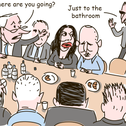 """An illustration of a government meeting. Kahlon gets up to leave. Netanyahu asks him, """"Where are you going?"""" Kahlon replies:""""Just to the Bathroom."""""""