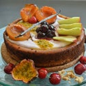 Vegan cheesecake with fruit topping.