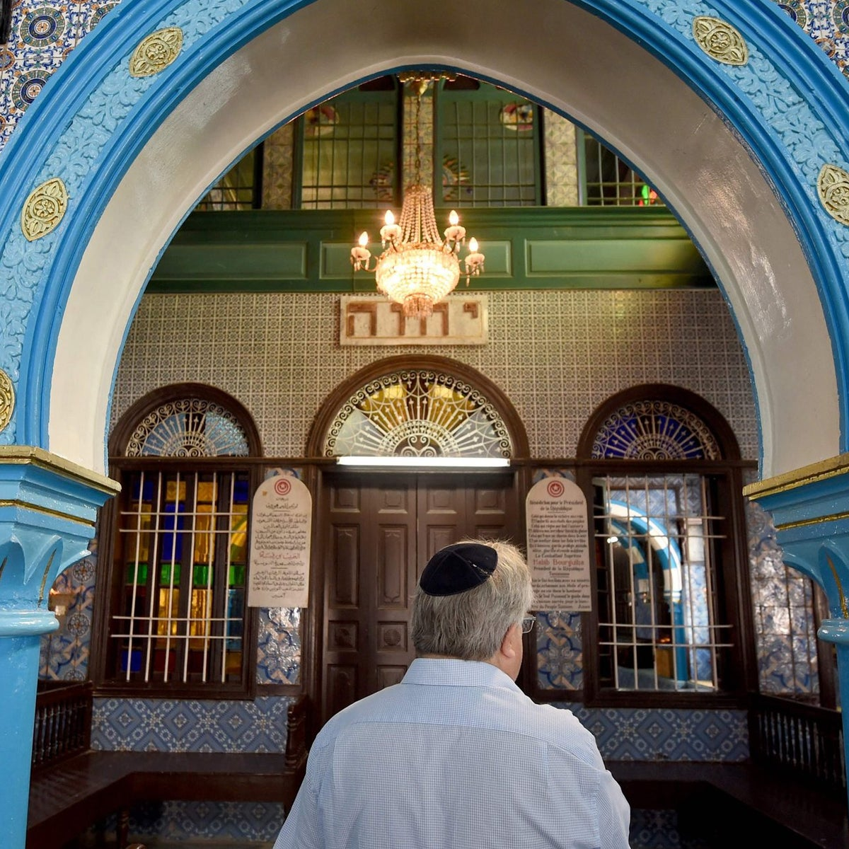 Chief executive of Liberal Judaism in the United Kingdon Rabbi Danny Rich is seen at the Ghriba synagogue in the Tunisian resort island of Djerba during the annual Jewish pilgrimage on May 25, 2016.