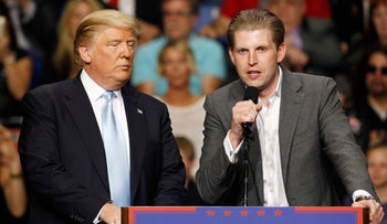 Eric Trump, son of U.S. Republican presidential candidate Donald Trump, speaks at a campaign rally for his father in Fayetteville, North Carolina, in this file photo taken March 9, 2016.