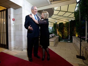 Netanyahu and his wife Sara at their residence in Jerusalem, March 20, 2013.