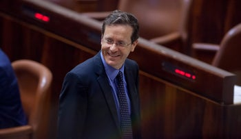 Zionist Union head Isaac Herzog at the Knesset.