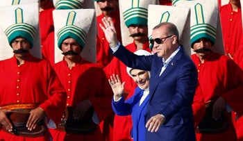 Turkey's President Recep Tayyip Erdogan and his wife Emine Erdogan at ceremonies marking the 563rd anniversary of the conquest of the city by Ottoman Turks, in Istanbul, May 29, 2016.