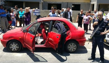 The vehicle in Ashdod in which an 18-month-old child was left by his father, who had apparently forgotten him, for three hours, on May 30, 2016. The child died.
