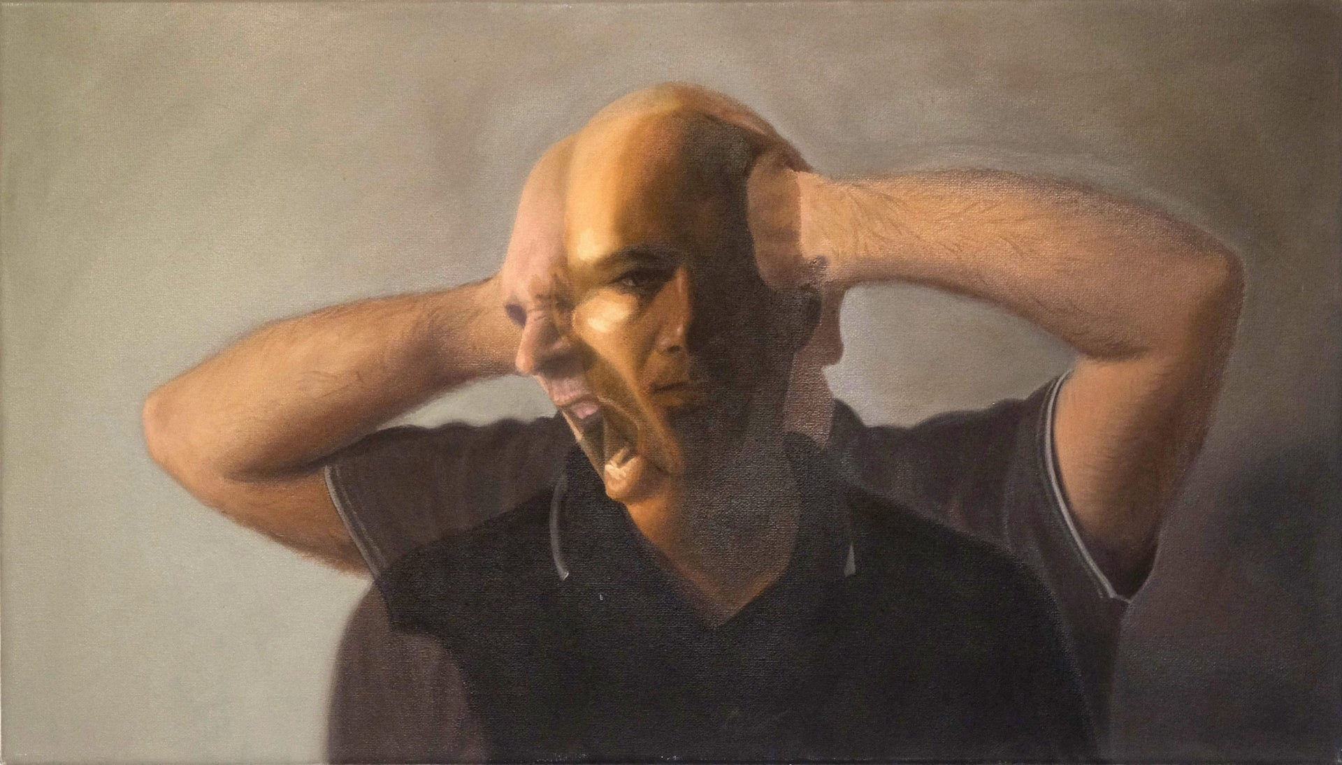 """A detail from a self-portrait by Michael Halak, 2011, from """"The Identity of the Palestinian Artist."""" In the painting, the image of a man's head and shoulders as he shouts or cries out, his bent arms at either side of his head, is superimposed upon the image of the same man looking calmly straight ahead, his arms presumably against his body."""
