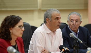Finance Minister Moshe Kahlon speaks at a meeting in the city hall of Ma'alot, northern Israel, May 19, 2016.