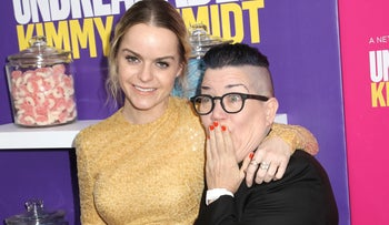 Lea DeLaria and Taryn Manning attend the premiere of Netflix's 'Unbreakable Kimmy Schmidt' Season 2 at the SVA Theatre, New York, U.S., March 30, 2016.