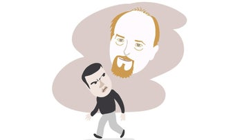 An illustration of Sayed Kashua walking away angrily from Louis C.K.'s face in a cloud.