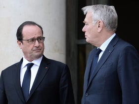 French President Hollande and Foreign Minister Jean Marc Ayrault, June 2, 2016 at the Elysee Presidential Palace in Paris.