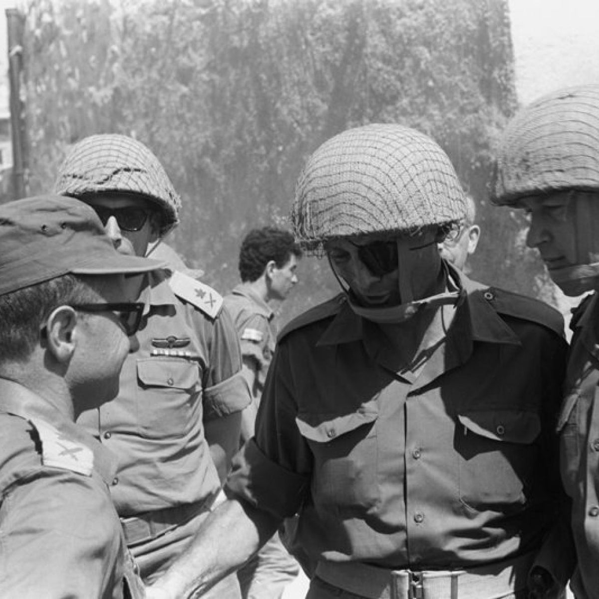 Four Israeli generals in the conquered Old City of Jerusalem on June 7, 1967: Uzi Narkiss, left, Rehavam Ze'evi, Moshe Dayan and Yitzhak Rabin.