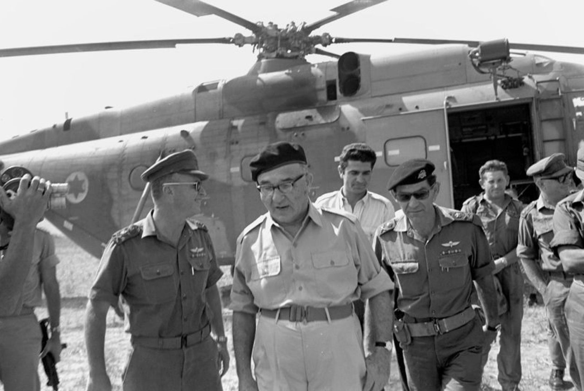 Prime Minister Levi Eshkol and Northern Command chief David Elazar in the Golan Heights, July 1967.