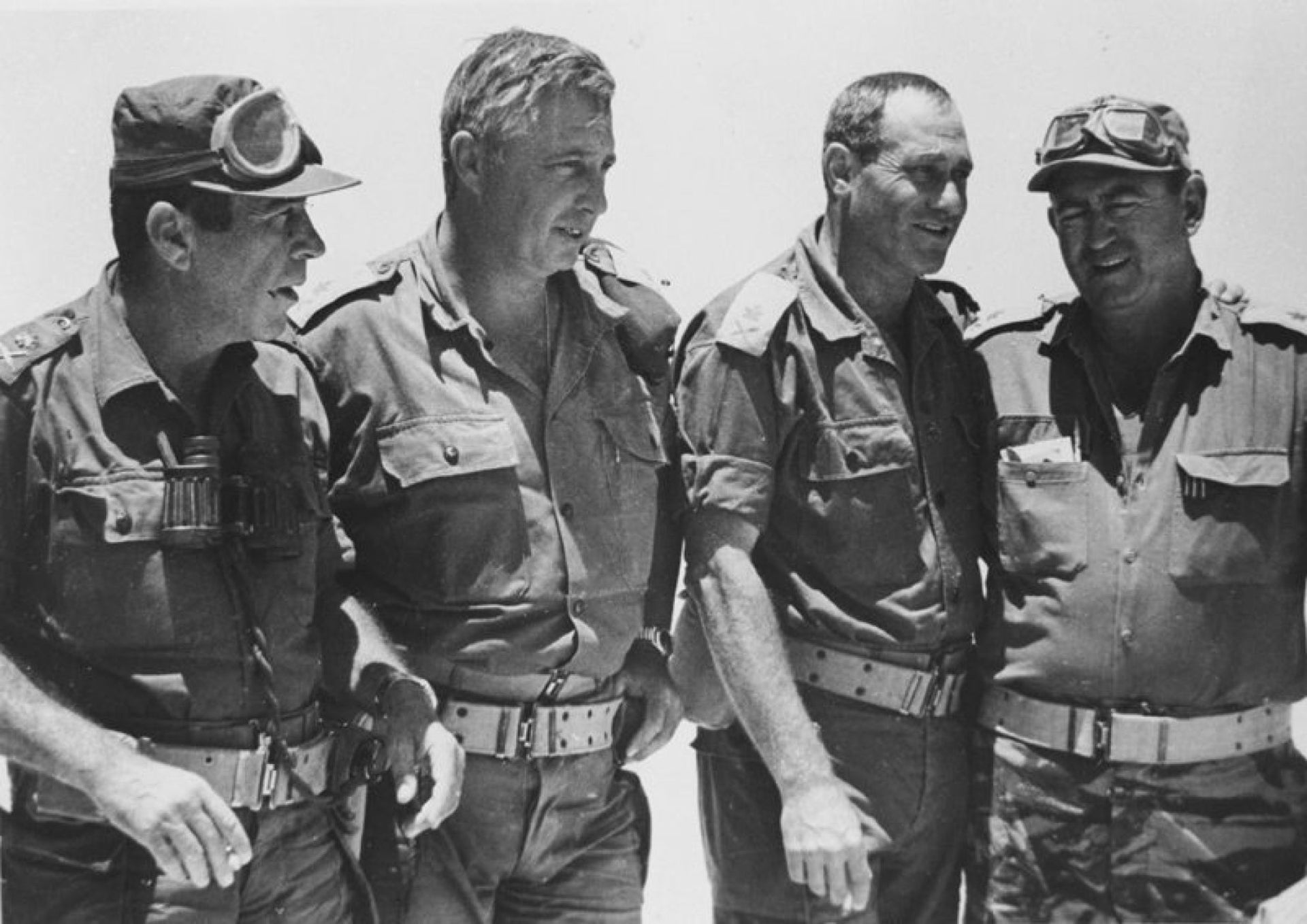 Southern Command division commanders, including Ariel Sharon second from left, June 6, 1967.