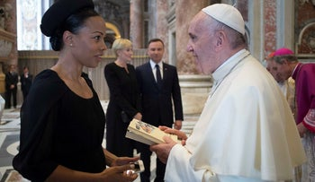 Pope Francis meets Swedish Minister of Culture Alice Bah Kuhnke before the canonization of Sister Mary Elizabeth Hesselblad at the Vatican on Sunday.