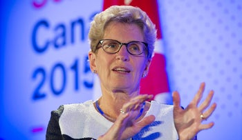 Kathleen Wynne, premier of Ontario, speaks during an interview at the Bloomberg Canada Economic Summit in Toronto, Ontario, Canada, on Thursday, May 21, 2015.