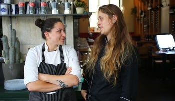 Alice and Rinat Moyal, in their restaurant Rina & Alice, in Jerusalem, in June 2016.