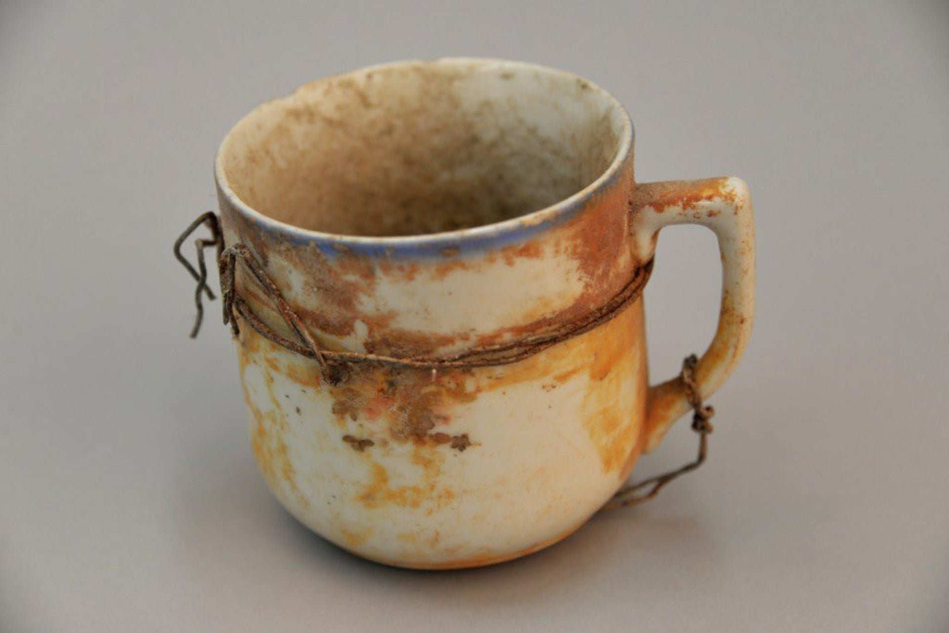 A mug was discovered among the recently revealed personal items from the Auschwitz death camp.