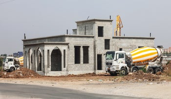 A home under construction in the town of Qalansawe.