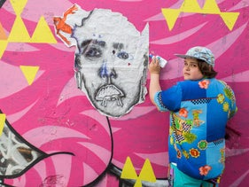 Shay Litman working on one of his artworks in Tel Aviv.