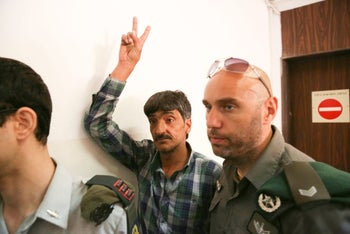 Imad Abu Shamsiyeh arriving to give evidence in military court, June 7, 2016.