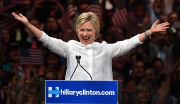 U.S. Democratic presidential candidate Hillary Clinton celebrates on stage during her primary night event at the Duggal Greenhouse, Brooklyn, New York, U.S., June 7, 2016.