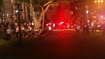 The scene of a shooting at food and retail center Sarona Market, Tel Aviv, Israel, June 8, 2016.