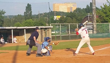 Tal Erel catching for Tempo in Czech baseball's Premier League this season.
