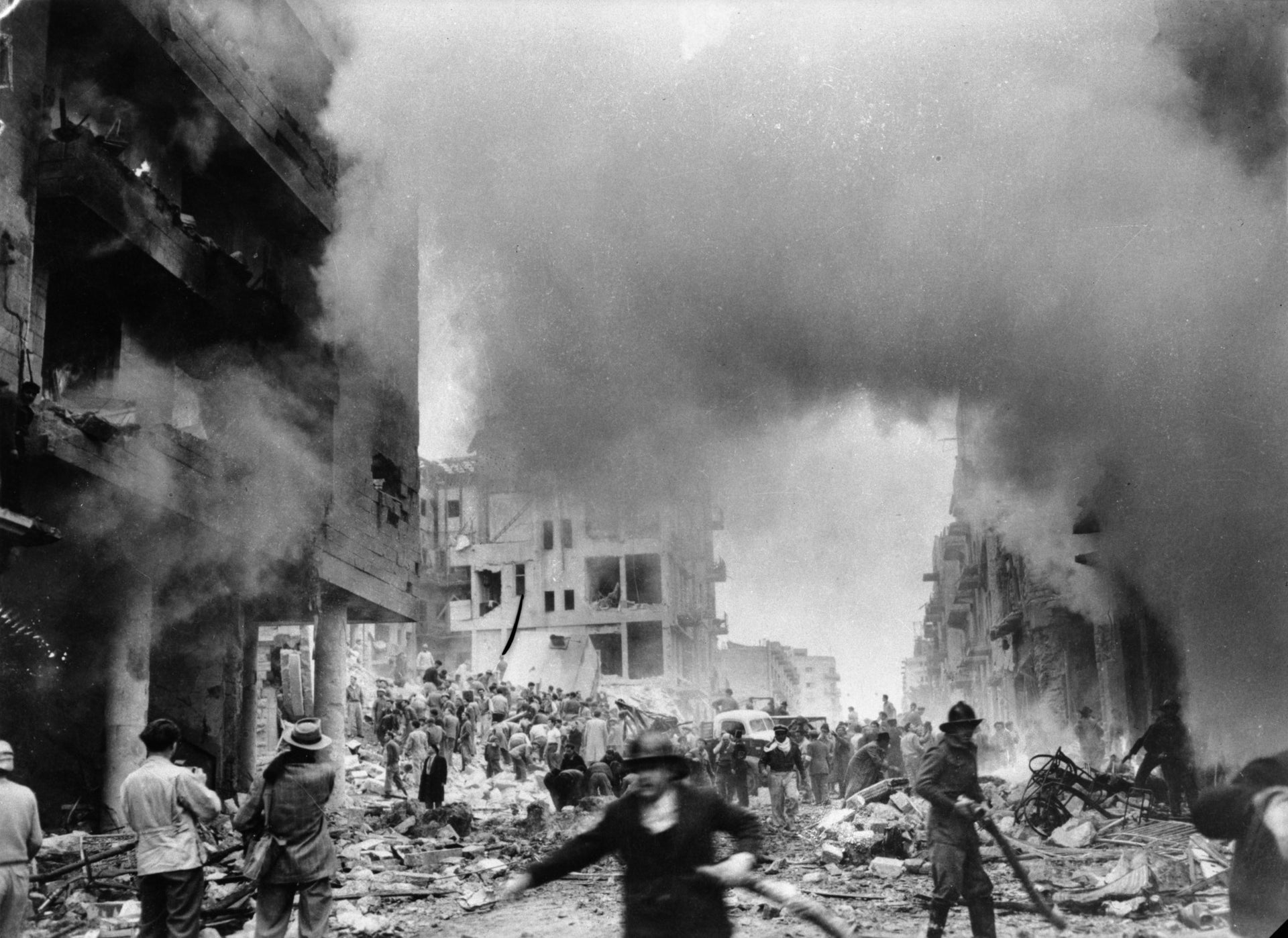 The terrible aftermath of a bomb attack on Ben-Yehuda Street in 1948.