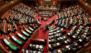 A general view of the Italian Senate is seen during a debate in Rome, Italy October 13, 2015.