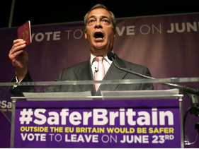 UK Independence Party (UKIP) party leader Nigel Farage holds up his passport as he speaks in central London on June 3, 2016.