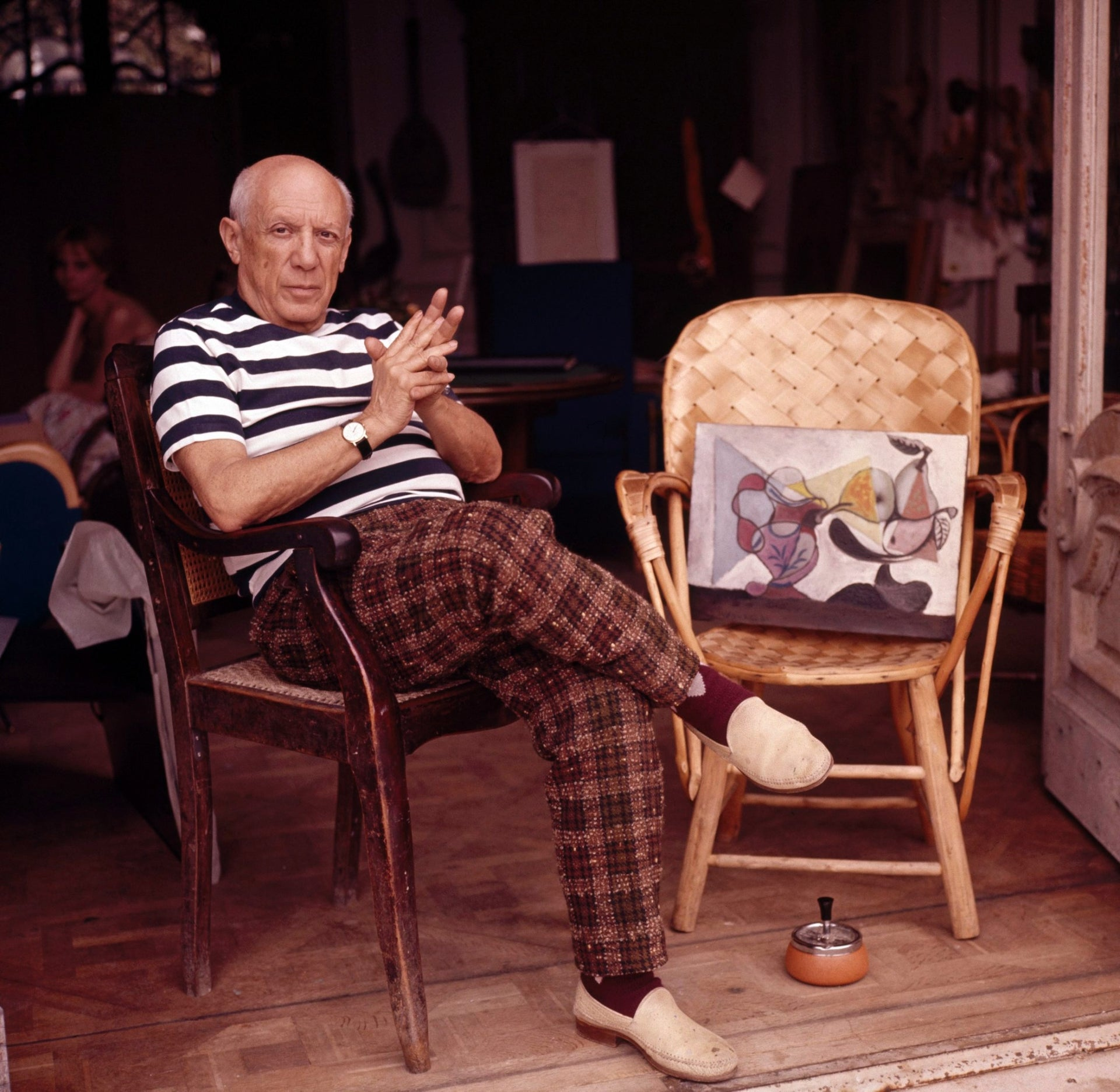 Pablo Picasso at his home in Cannes, circa 1960.